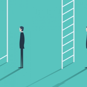 Illustration of two men at ladders, one is missing rungs, from the cover of 'The Inequality Crisis'