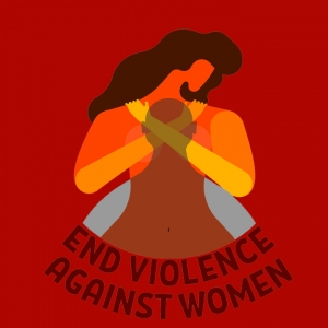 Illustration of a woman covering her chest with a shadow of a man over her and the words 'End violence against women'