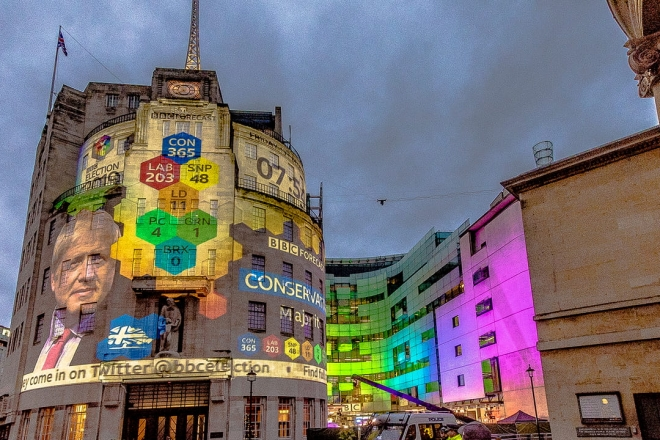 2019 UK election results projected onto a building