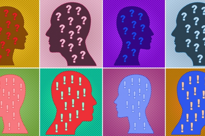 An illustration of 8 heads with question marks and exclamation marks inside their heads