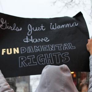 Sign saying 'Girls just wanna have fundamental rights'