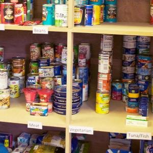 shelves at a food bank