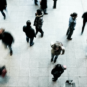 Photo of a crowd walking