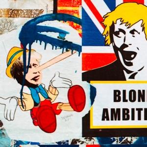 Street art of Boris with caption 'Blond ambition'