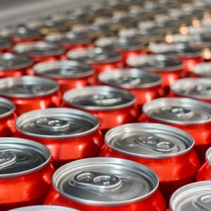 Drink cans on a production line