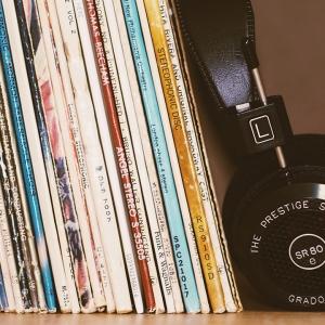Records with headphones