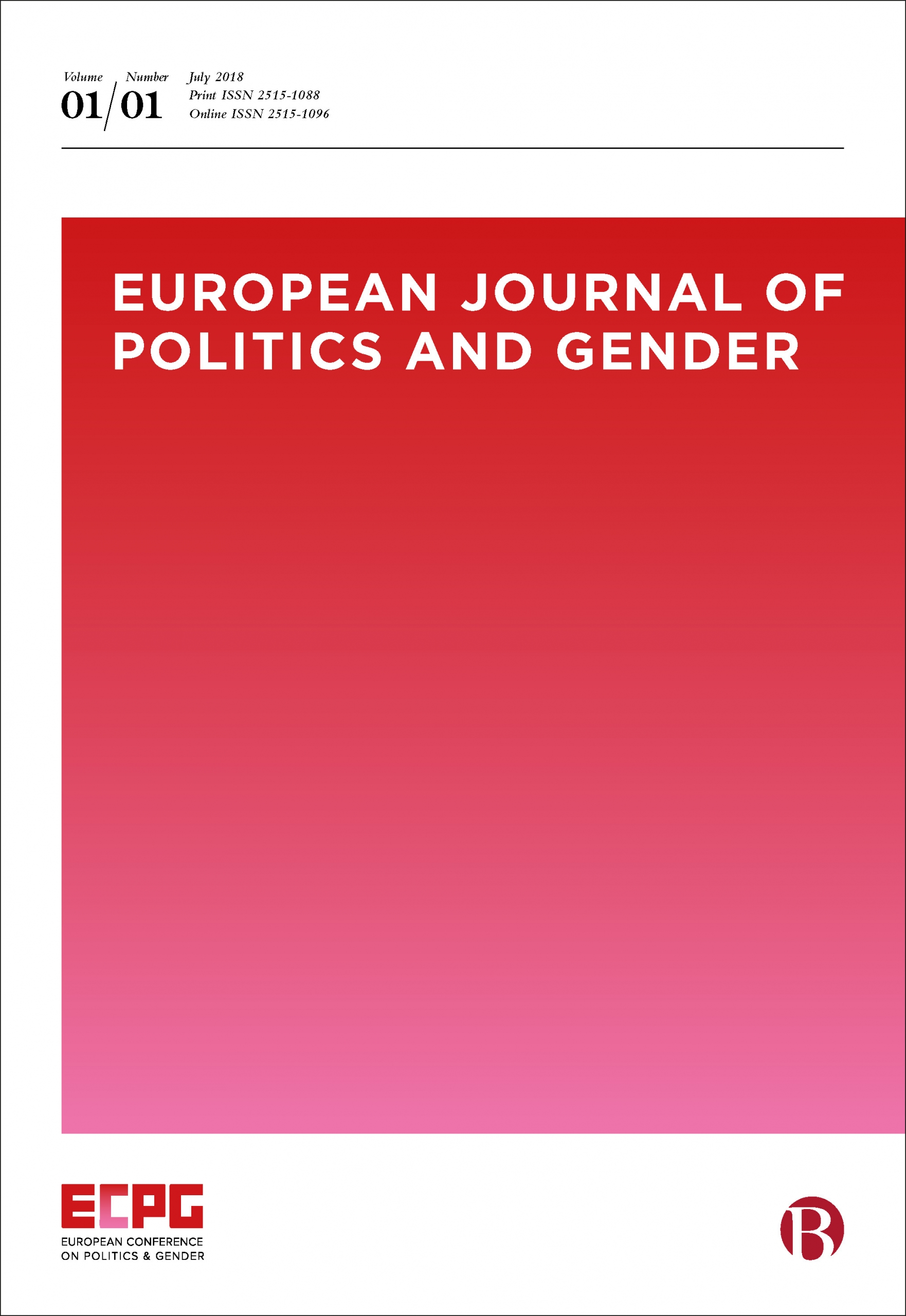 Cover of the European Journal of Politics and Gender