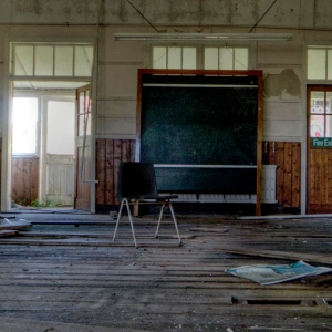 Empty, deserted school room