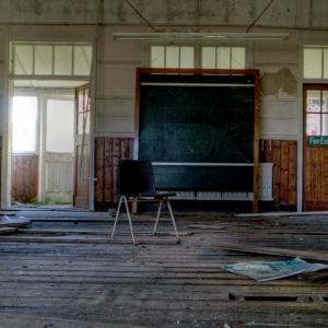 Empty, deserted school room