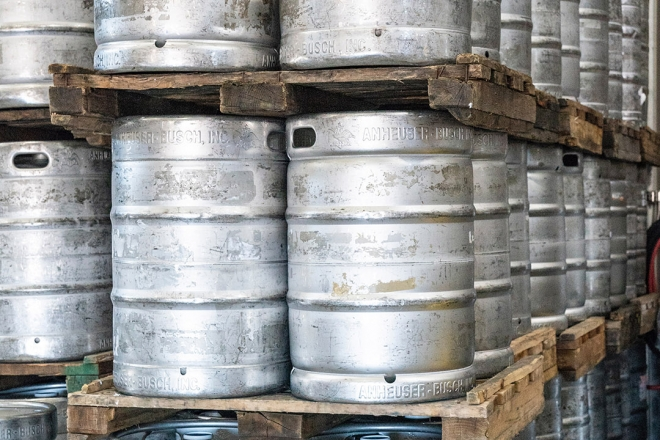 Stack of beer barrels