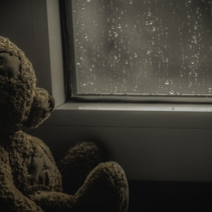 Teddy bear by rainy window