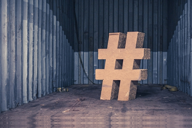 Cardboard hashtag in a shipping container