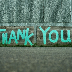 'Thank you' written on the side of a building
