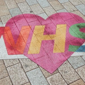 NHS heart on the floor