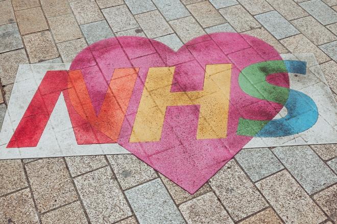 NHS heart on the floor