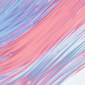 Fluid abstract blue and pink paint
