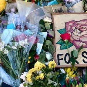 Flowers and sign left for Sarah Everard