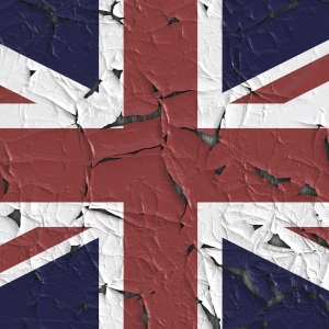 Breaking union jack flag