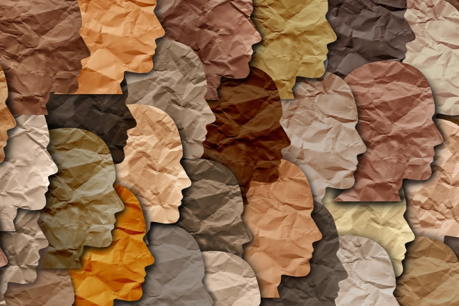 Heads made of paper in different skin tones