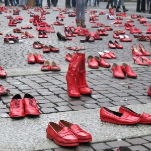 Red painted shoes