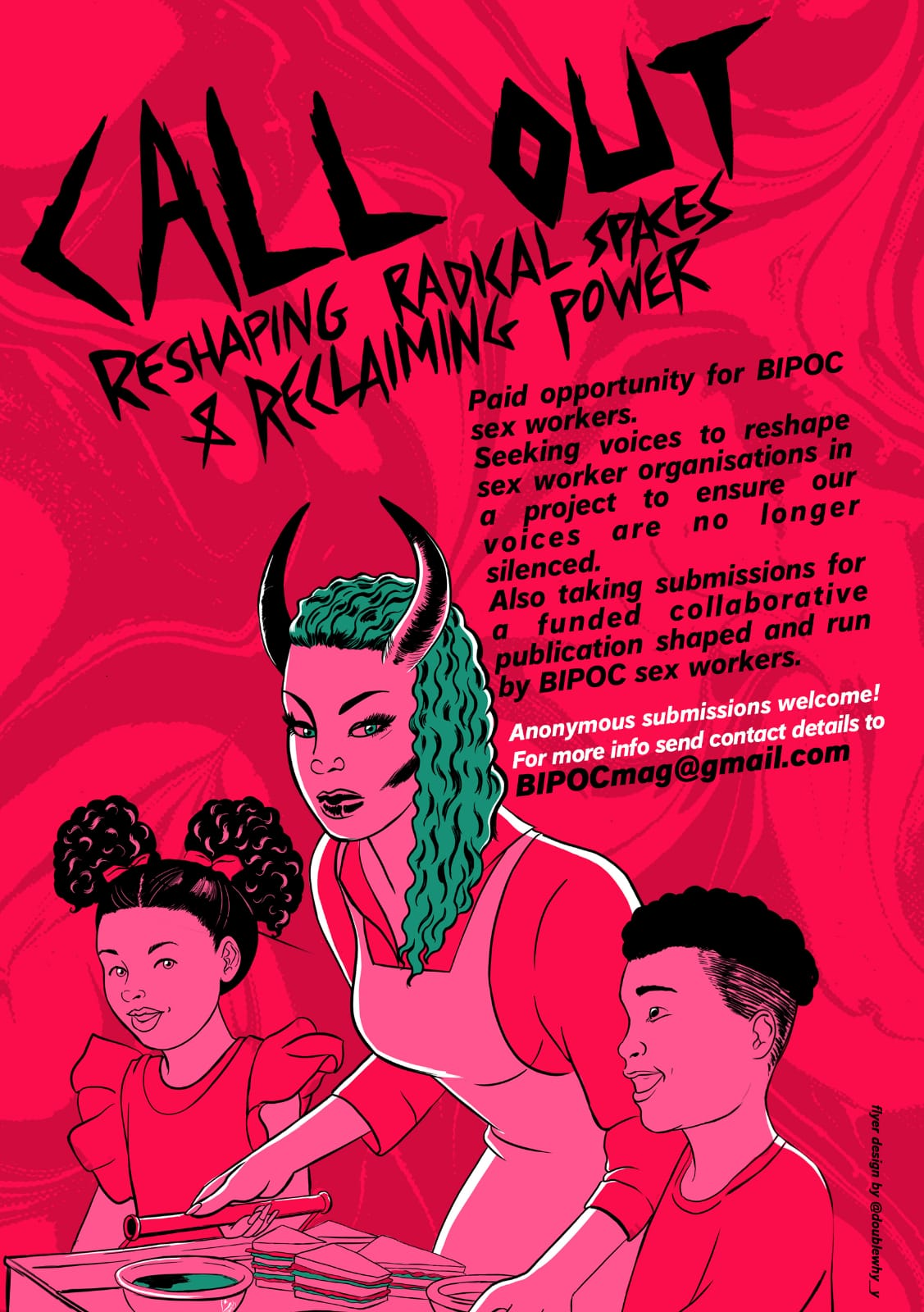 Call out poster. Woman with horns next to two children.