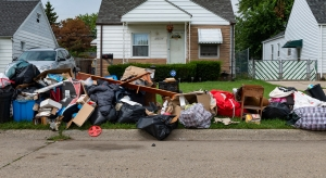 belongings from a home on the pavement