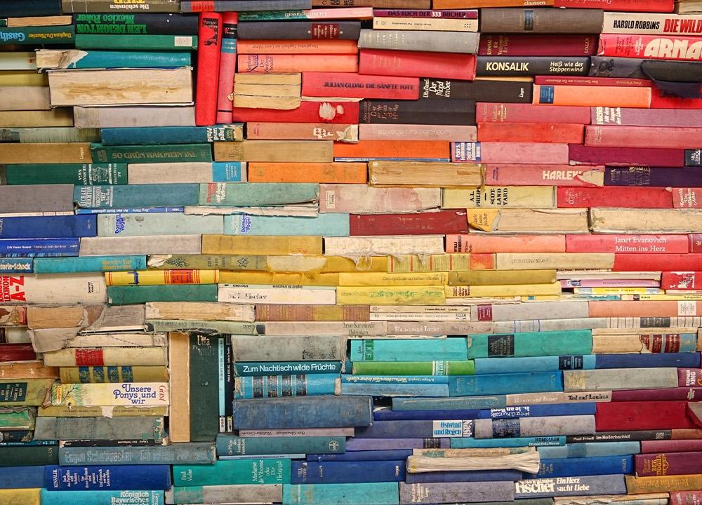 Mixed language bookshelf
